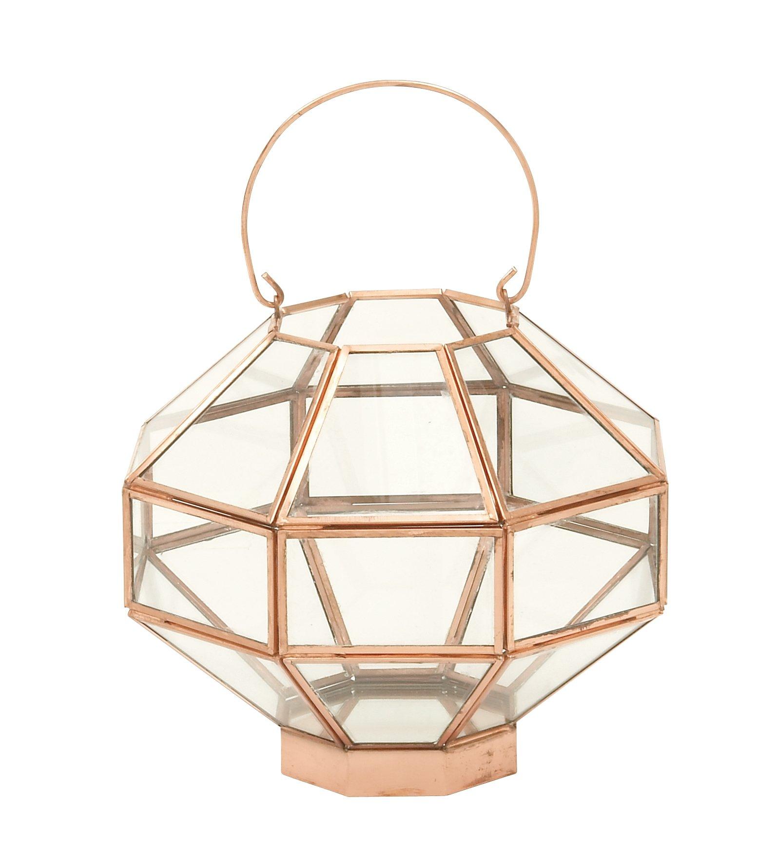 Metal Glass Mirror Cpr Lantern 9''W, 12''H - 37156 by Deco 79 (Image #2)