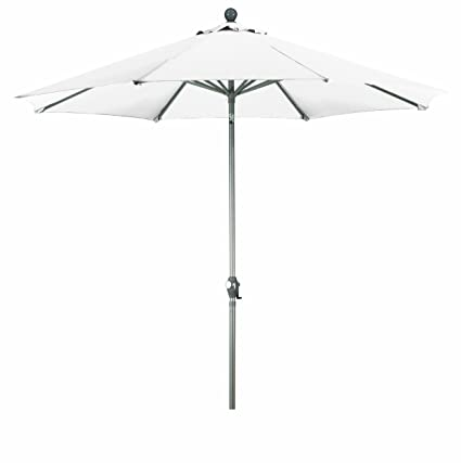 California Umbrella 9 Feet Olefin Fabric Push Button Tilt Aluminum Market  Umbrella, White