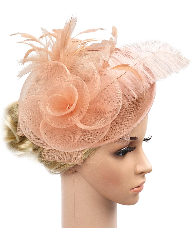 Z&X Sinamay Fascinator Headband Mesh Feather Flower Cocktail Pillbox Hat (Champagne Pink)