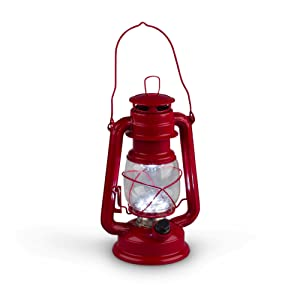 Gerson 9.5-Inch Red Metal 15 LED Hurricane Lantern with Dimmer Switch