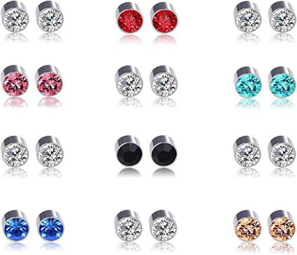 Pack of 6 Pairs Mix Color Cubic Zirconia CZ Crystal Magnetic Clip On Stud Earrings 6 Color Gift Set for Teen Girls Women