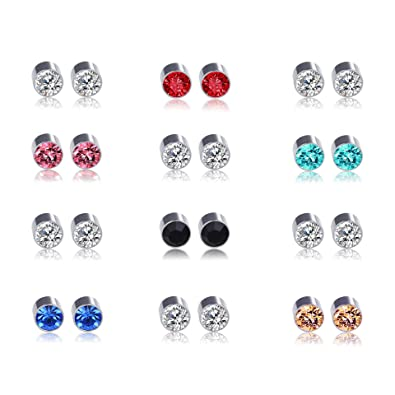 3a0bb9465 Shoopic 12 Pairs Cubic Zirconia Earrings Magnetic Stud Earrings for Women
