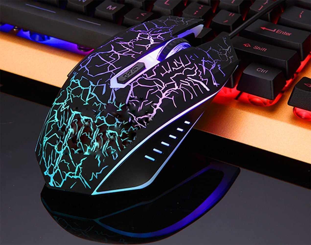 Huangyongchun 4 Style Gaming Mouse Wired with Four-Color Breathing Backlight 2400 DPI 6 Buttons Ergonomic Gaming Mouse for PC Color : Ivory White+Exclusive Color Box