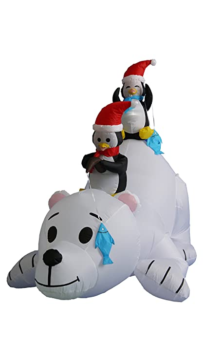 6 foot long christmas inflatable penguins fishing on polar bear decoration - Polar Bear Inflatable Christmas Decorations