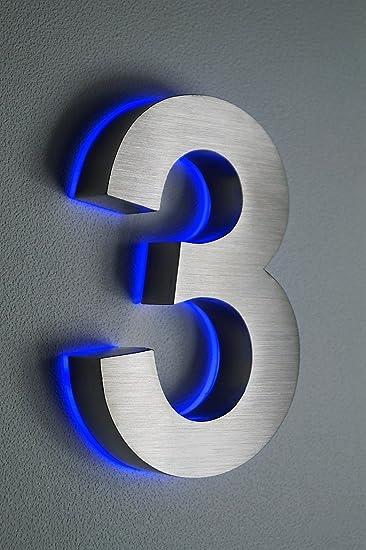 Hausnummer 3, Edelstahl, 3D, beleuchtet, 180 mm hoch, blaues LED (12 ...