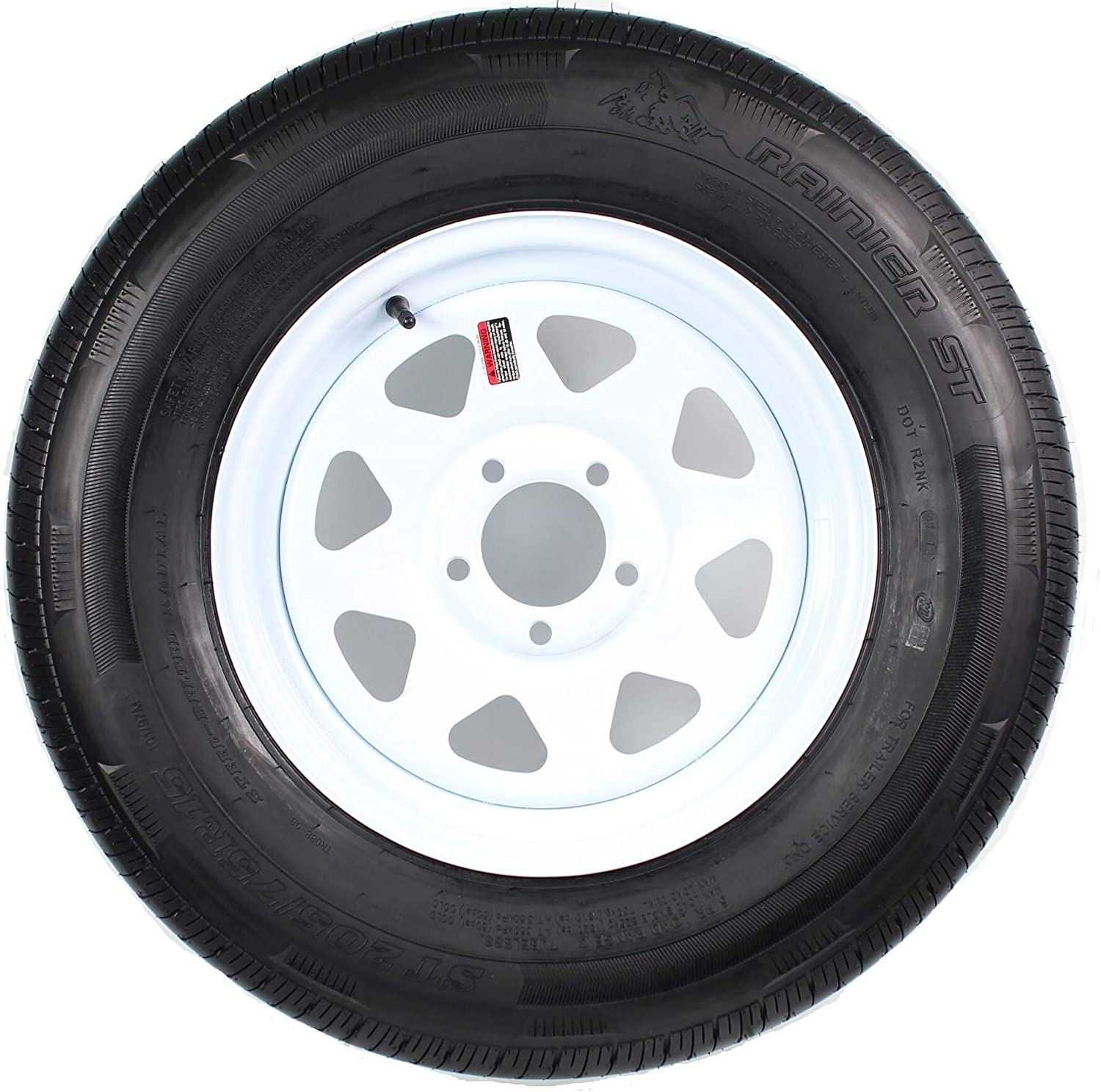 Radial Trailer Tire On White Rim ST225/75R15 Load D 5 Lug On 4.5 Spoke Wheel