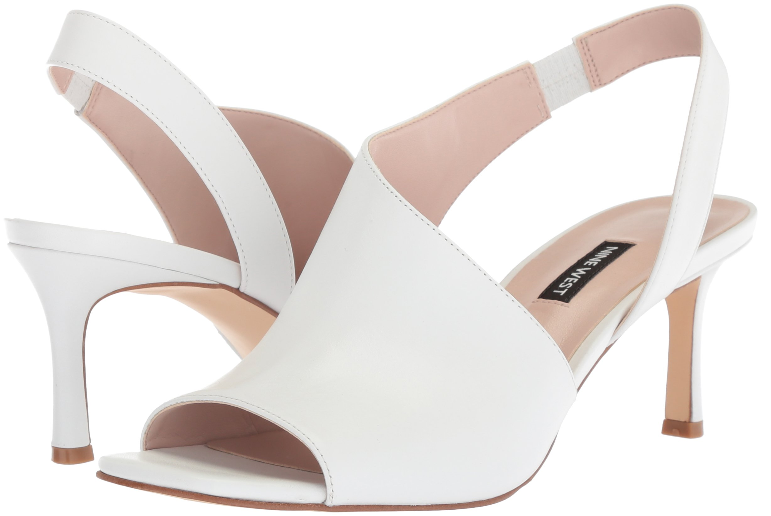 Nine West Women S Orrus Heeled Sandal White Leath