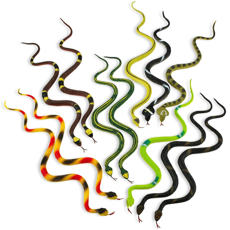 Kidsco Rubber Rainforest Snakes - 12 Pack -14 Inches - Snake Toys for Children, Gag Toys, Prank, Prop, Gardens, Party Favors, Halloween & Decorations