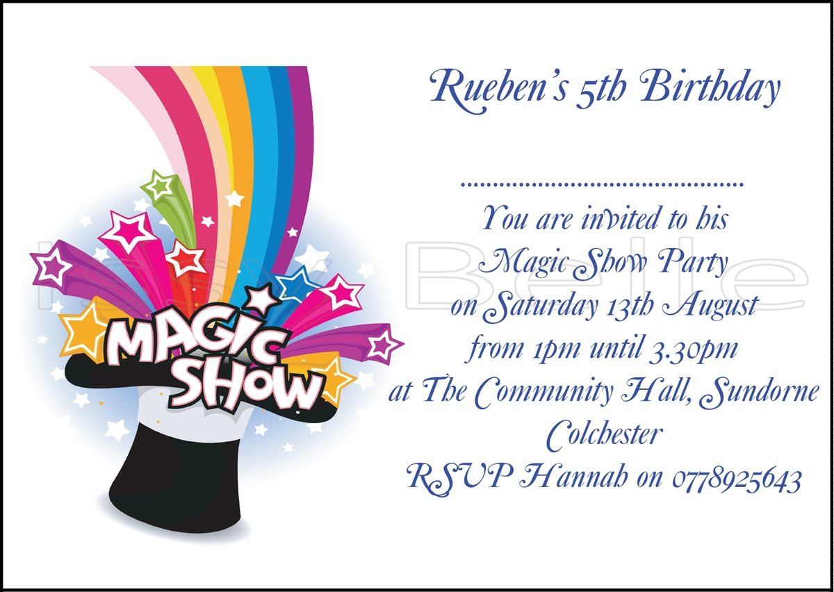 Personalised Invite Childrens Birthday Party Invitations Magic Show ...