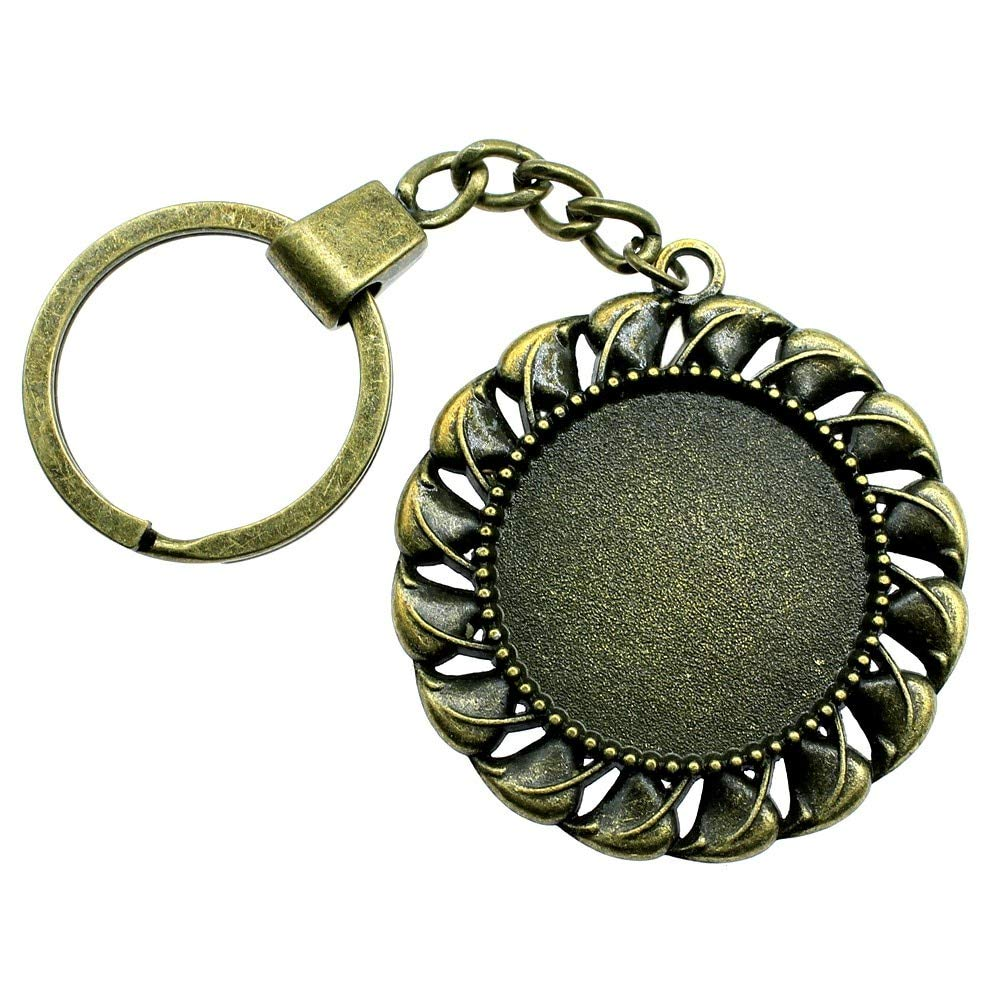 WYSIWYG 3 Pieces Key Chain Women Key Rings Fashion Keychains For Men Retro Small Grass Single Side One Hanging Inner Size 30mm Round Cabochon Cameo Base Tray Bezel Blank WYSK-F1090
