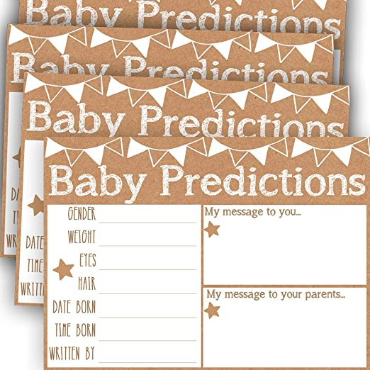 50 Pack Best Baby Shower Games Gender Reveal Baby Shower Game Baby Advice and Prediction Cards Gender Reveal Prediction Cards