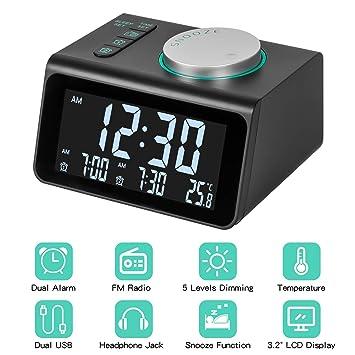 Radio Reloj Despertador, Radio Reloj Digital Reloj de Cabecera con USB Doble, Pantalla de Temperatura, Alarmas Dobles con 7 Sonidos de Alarma, 5 ...