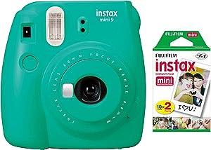Fujifilm Instax Mini 9 Instant Camera with Mini Film Twin Pack (Arcadia Green)