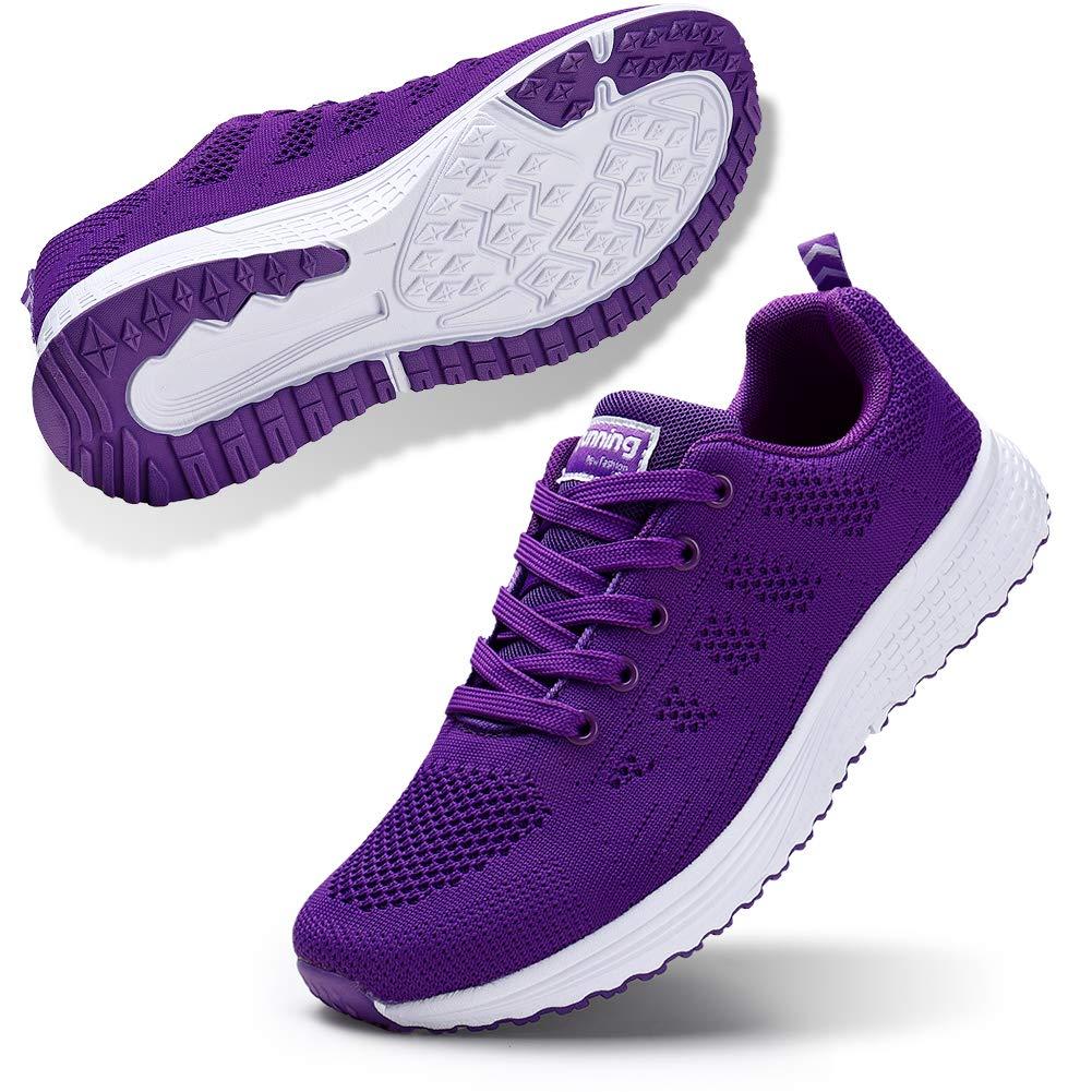 STQ Women's Athletic Walking Shoes Casual Mesh-Comfortable Work Sneakers Purple 5.5