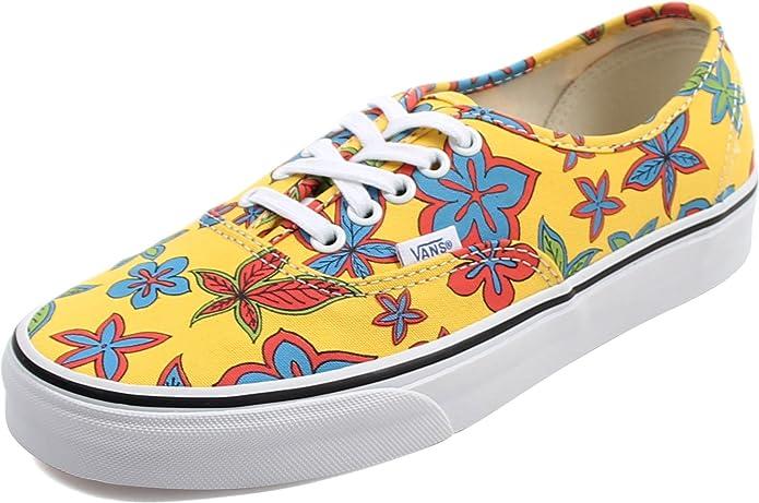 Vans Authentic Sneaker Damen Herren Kinder Unisex Gelb mit Blumen (Floral/Yellow)