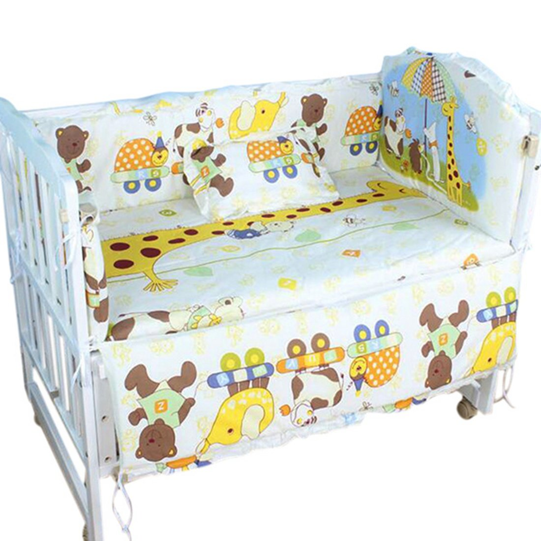 Jiyaru Accessoires de Lit pour Bébé 5 Pièces en Coton Animal S