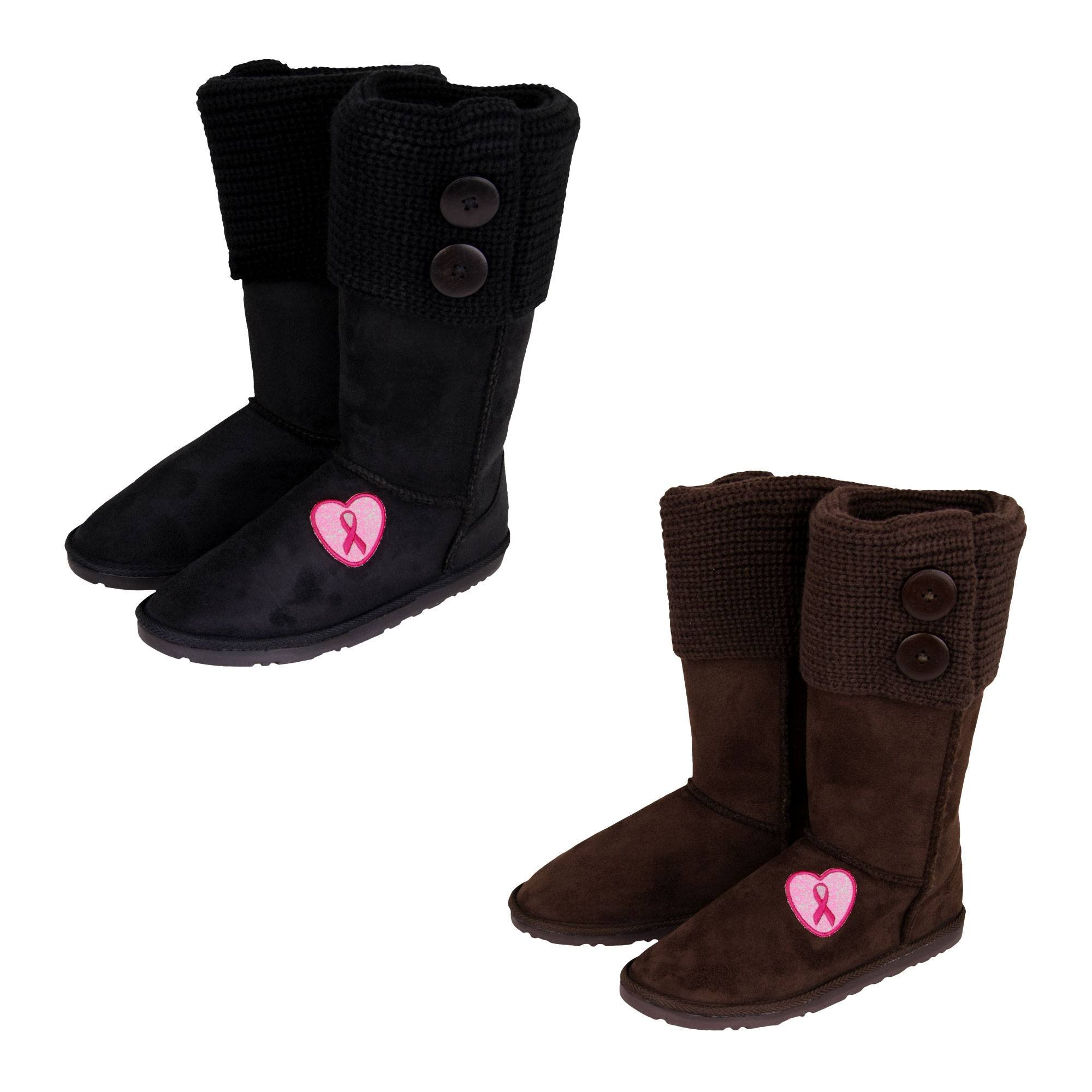 Pink Ribbon Love Sweater Boots