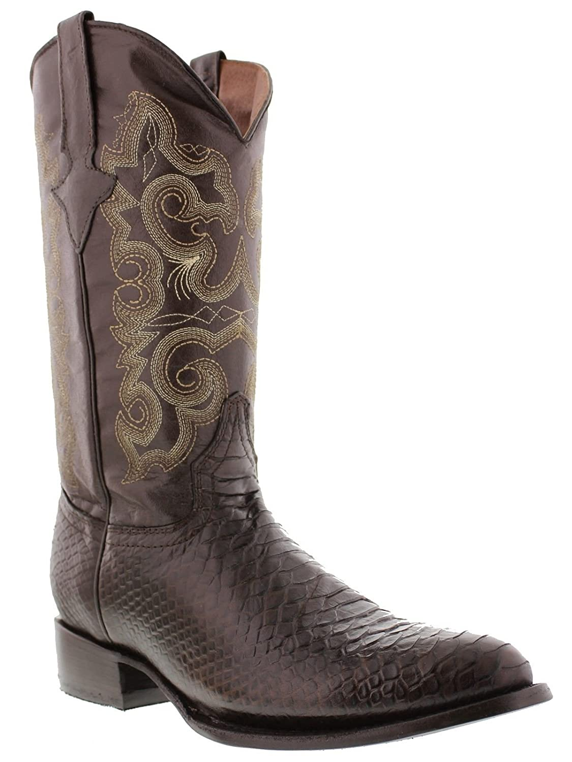 Men's New Python Snake Lather Cowboy Western J Toe Boots Brown