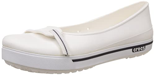 9963eb015654 crocs Women s White and Navy Ballet Flats - W7  Buy Online at Low ...