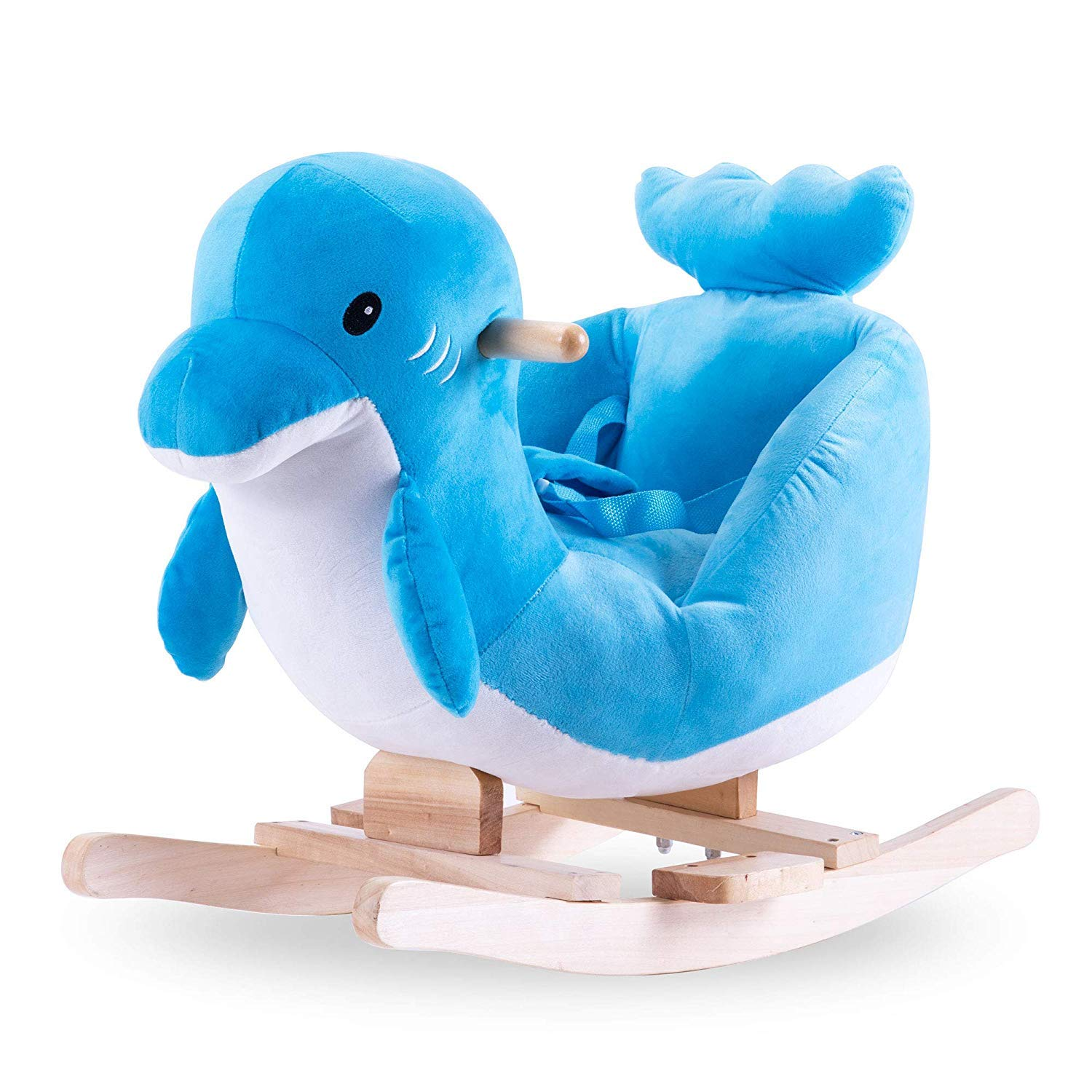 Child Stuffed Animal Rocking, Ride-On Rocker Plush Toy Rocking Horse for Over 3 Year-Old Kids Rocking Animals with Seat Belt & Wood Handle, Child Best Gift (Blue Dolphin)