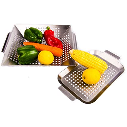 Vegetable Grill Basket and Smoker Pan - Set of 2 - Stainless Steel BBQ Accessories for Outdoor Grilling Veggies,Fish,Seafood, Meat, Burger - Use as ...