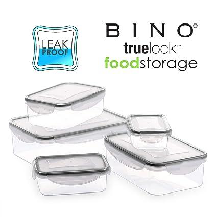 649f46771401 BINO TRUELOCK 10-Piece Rectangular Leak-Proof Plastic Snap Lock Food  Storage Container Set with Lids, Coal Grey