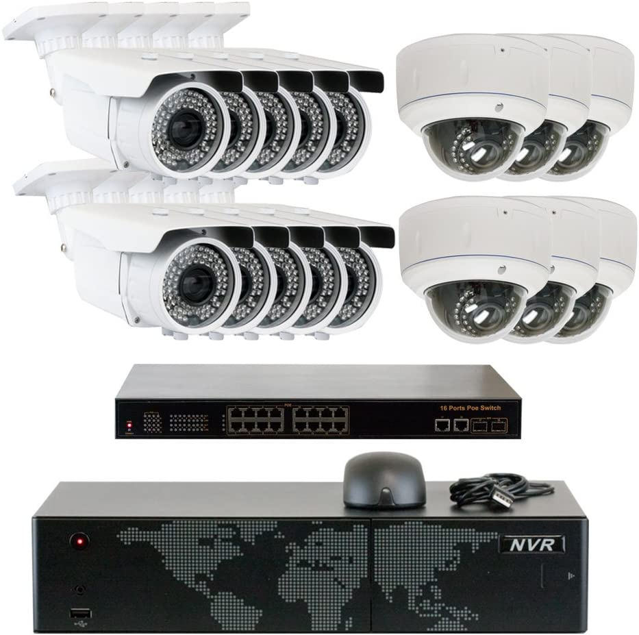 5MP 2592x1920p 16 Channel 4K NVR Network PoE IP Security Camera System – HD 1920p 2.8 12mm Varifocal Zoom 10 Bullet and 6 Dome IP Camera – 5 Megapixel 3,000,000 More Pixels Than 1080P