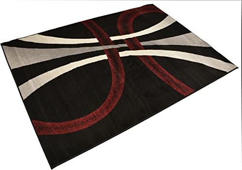 Comfy Collection Stripes Geometric Modern Area Rug Contemporary Rug 4 Color Options Black Grey