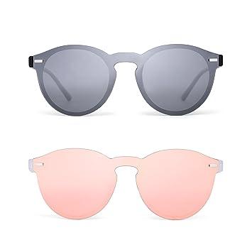 Polarizadas Sin Marco Gafas de Sol Reflexivo Una Pieza Redondas Espejo Anteojos Para Hombre Mujer 2