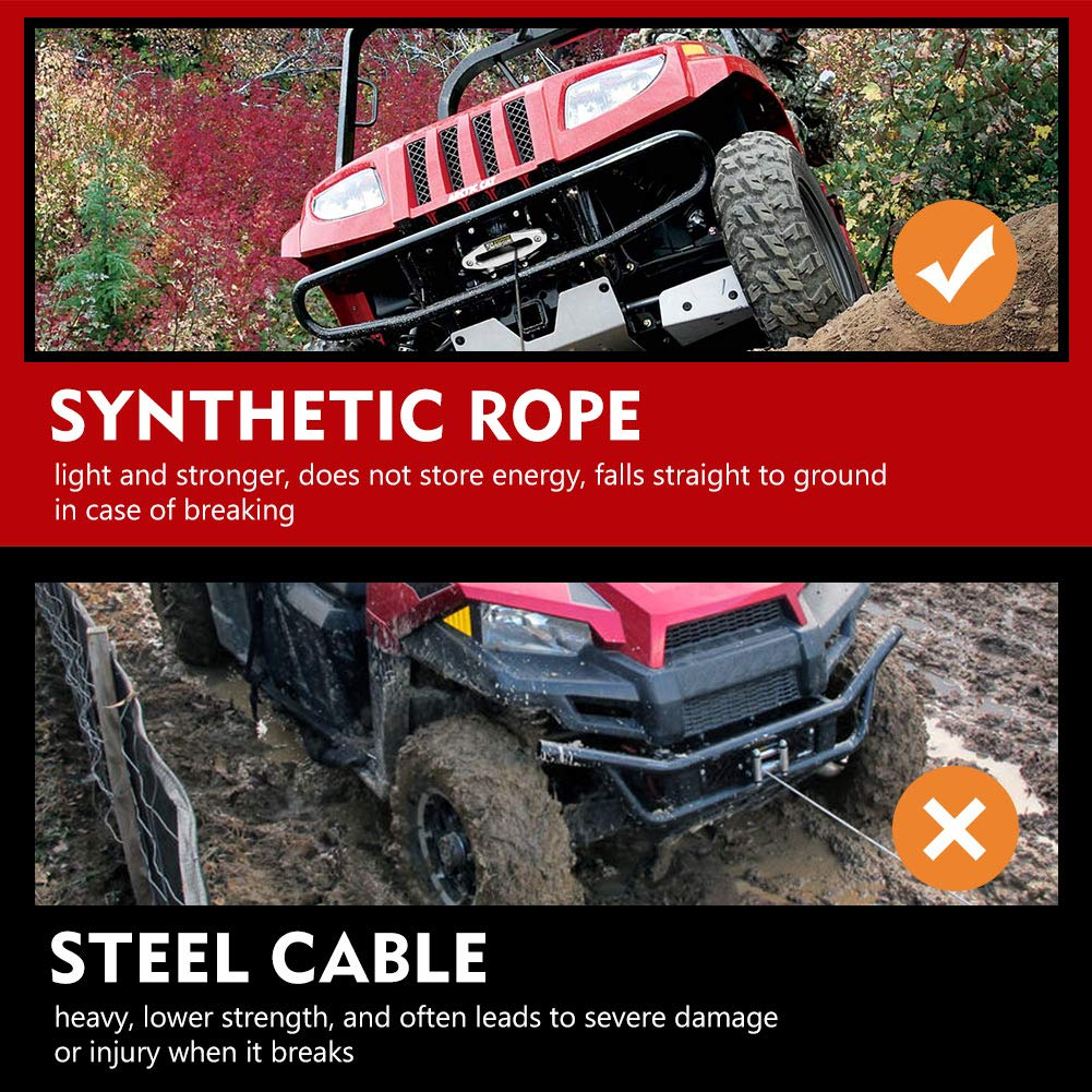 Synthetic Winch Rope 3//16 x 50-8200 Ibs Winch Line Cable Rope with Protective Sleeve for 4WD Off Road Vehicle ATV UTV SUV Motorcycle 1 Year Warranty