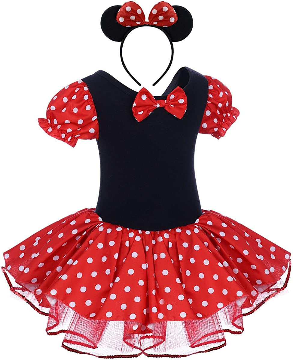 Infant Baby Toddlers Girls Minnie Polka Dots Birthday Princess Bowknot Tutu Leotard Skirt Cosplay Pageant Dress up Carnival Festival Fancy Halloween Costume Party Outfits+Mouse Headband for Kids 1-8Y