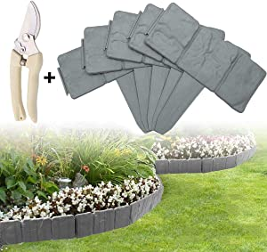ARISKEY Garden Lawn Edging with Garden Shears, 20 Pack Landscape Border Flexible Interlocking Edging Plastic Palisade Fence DIY Decorative Flower Bed & Grass Garden Border- Grey