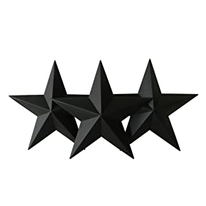 CVHOMEDECO. Country Rustic Antique Vintage Gifts Black Metal Barn Star Wall/Door Decor, 12-Inch, Set of 3.