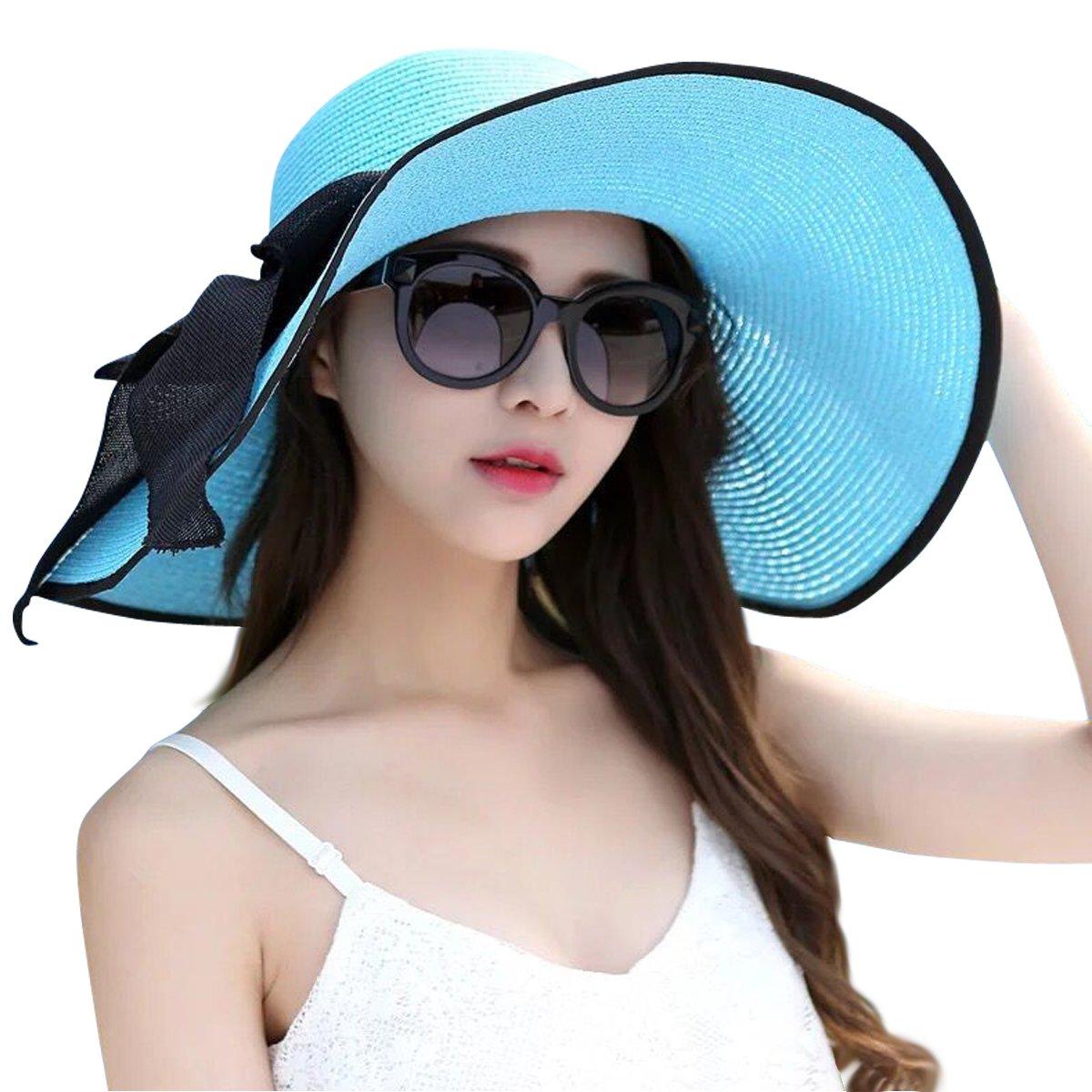 Lanzom Womens Big Bowknot Straw Hat Foldable Roll up Sun Hat Beach Cap UPF 50+ hat0571