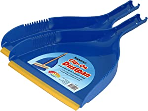 Superio Clip-On Dustpan - Heavy Duty Blue Plastic, Easy Grip Clip On Dust Pan with Rubber Edge, Detailed Sweeping Debris, Fits Standard Brooms Home & Commercial Dusting & Cleaning Tool (2)
