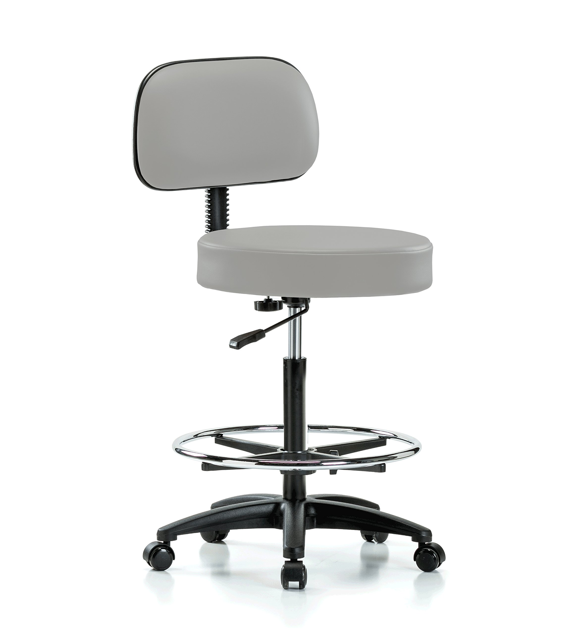Perch Rolling Walter Exam Office Stool with Footring and Adjustable Backrest for Medical Dental Spa Salon Massage Lab or Workshop 25'' - 35'' (Stationary Caps/Grey Vinyl)