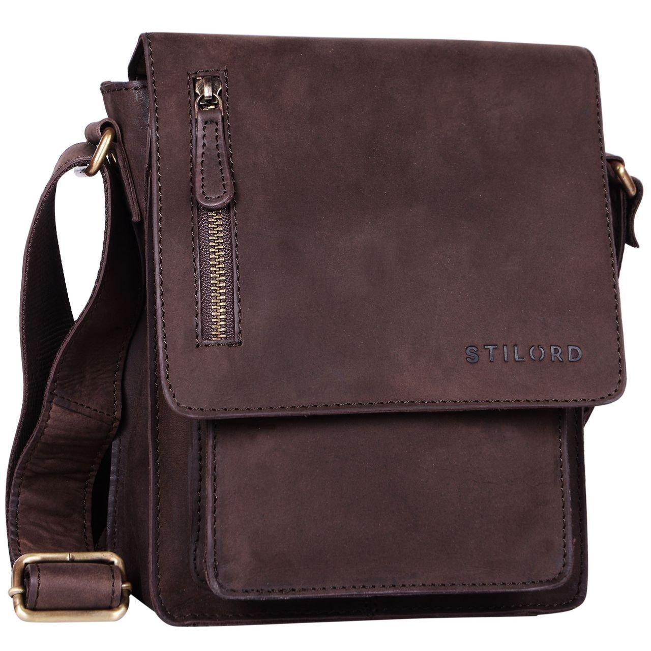 STILORD 'Finn' Bolso mensajero mediano de piel vintage para mujeres y hombres Bolsa de hombro o bandolera para smartphone o Tablet de 8.4' auténtico cuero, Color chocolate - marrón
