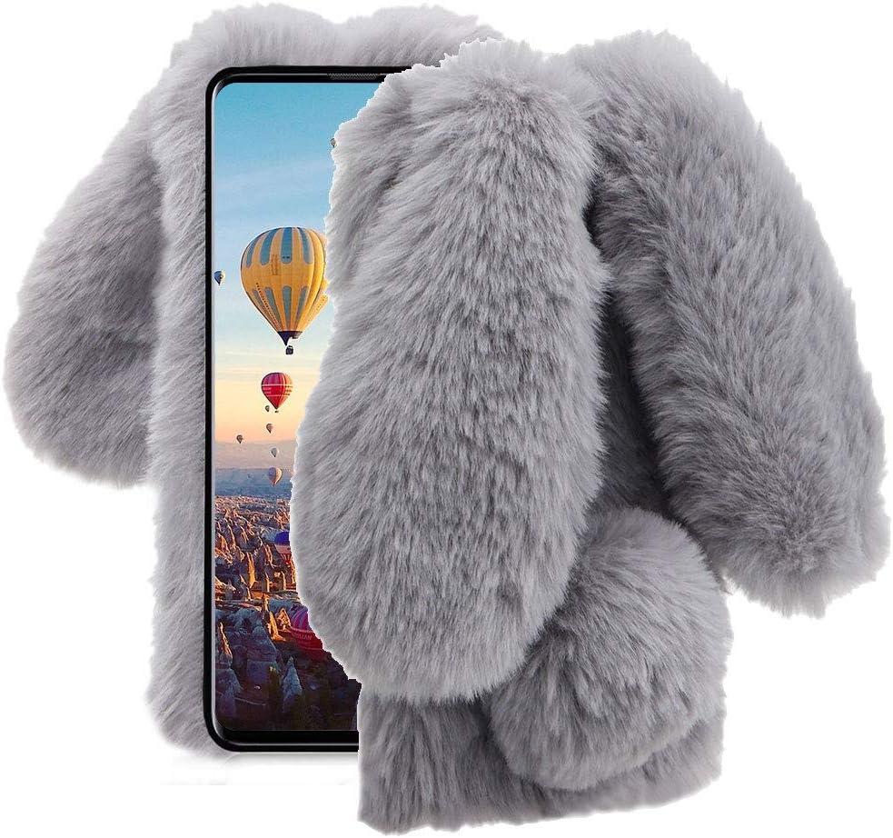 Aearl für Samsung Galaxy A20/A30 Case,Galaxy A20/A30 Rabbit Fur Ball Case,Luxury Cute 3D Homemade Diamond Winter Warm Soft Furry Fluffy Fuzzy Bunny Ohr Plush Grey Phone Case Cover für Girls Women