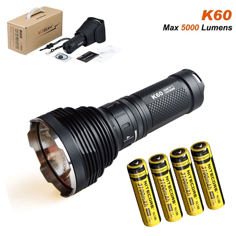 Acebeam K60 CREE XHP70 5000Lm Throw 704m Magnetic Ring LED Flashlight- Included 4 Nitecore 3100mAh rechargeable battery