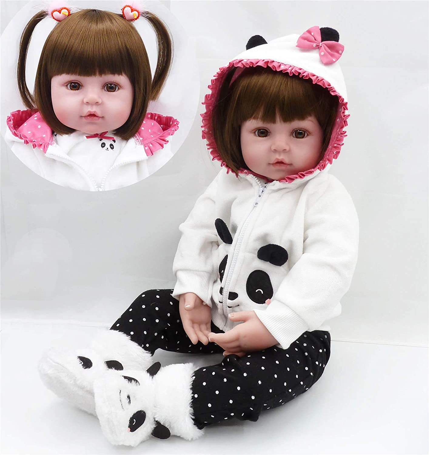 """Real Life Reborn Baby Dolls Silicone Toddler Girl Vinyl Toys in Panda Outfit 18/"""""""