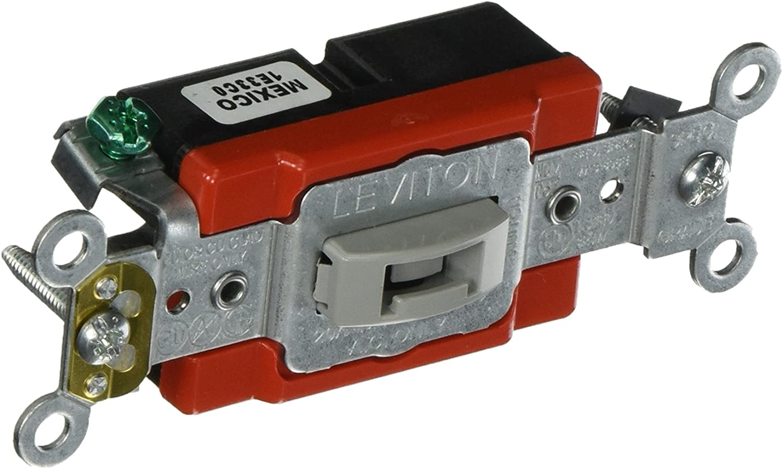 Gray Leviton 1221-2GL 20-Amp Toggle Locking Single-Pole AC Quiet Switch 120//277-Volt Extra Heavy Duty Spec Grade