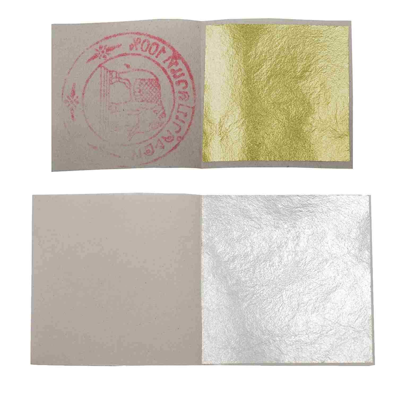 Premium Set of 10 Gold 10 Silver Leaf Sheets by SIM GOLD LEAF 24K, 1.4'' x 1.4'' Edible Gold Sheets