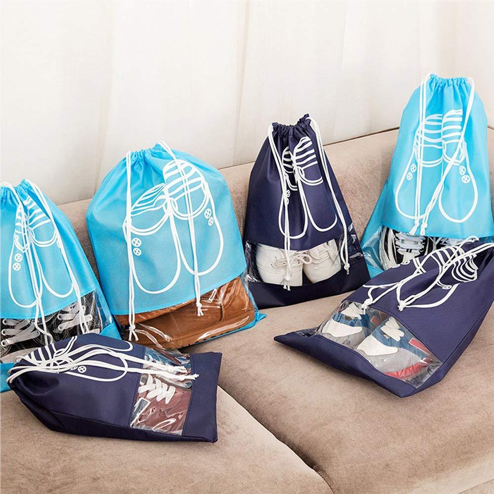 Bleu Marin,Bleu gotyou 10 Pi/èces Sac de Rangement pour Chaussures,Sac /à Chaussures de Voyage avec Fen/être Transparente,Drawstring Portable Anti-poussi/ère,Voyage Sport Sac de Rangement