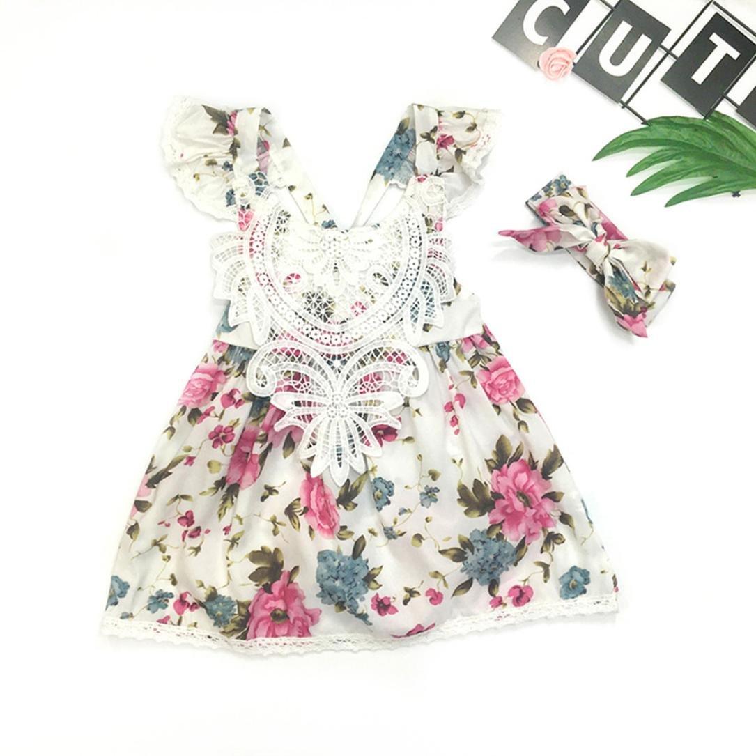 Yesmile-robe Robe de Filles, de Filles Jolie Robe Eté Bébé Robe Princesse Robe Enfant Fille Mode sans Manches Robe Mignon Robe Floral