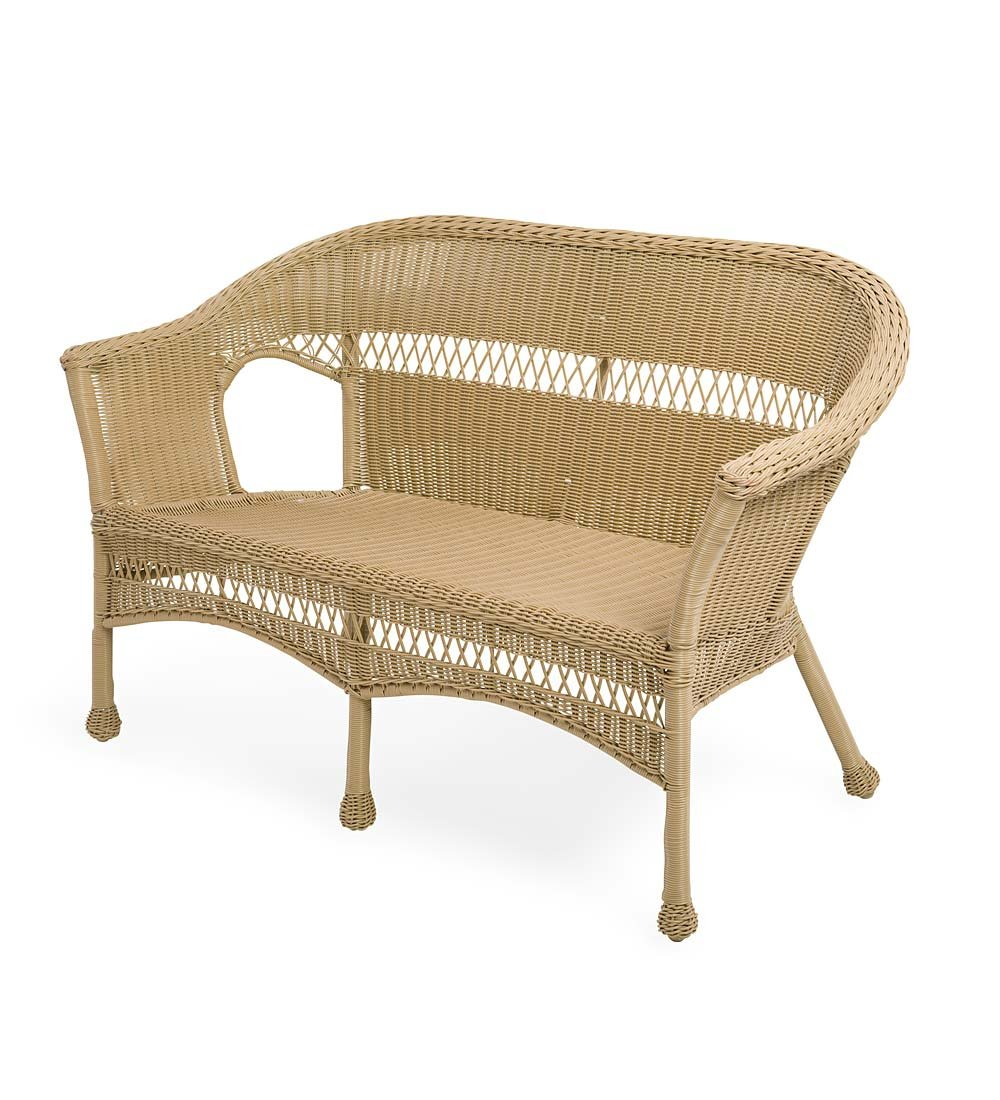 Plow & Hearth Easy Care Resin Wicker Love Seat, Natural