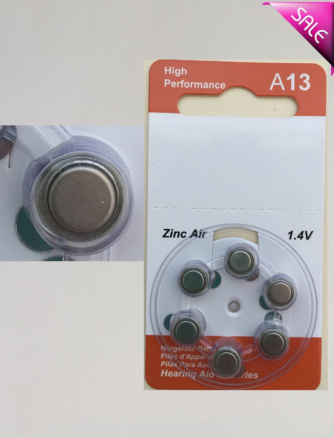 6 Size 13 A13 13 13A 1.4V Zinc-Air Hearing Aid RSS Card Alkaline battery US Fast Shipping