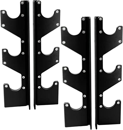 RIGERS Steel Horizontal Wall Mounted Barbell Holders with UHMW Protectors, 3 Bar or 6 Bar Options Pair