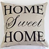 NEW BARLEY Letter Design Throw Pillow Cover Pillow Case 18 x 18 Inch Cotton Linen for Sofa (Home Sweet Home)