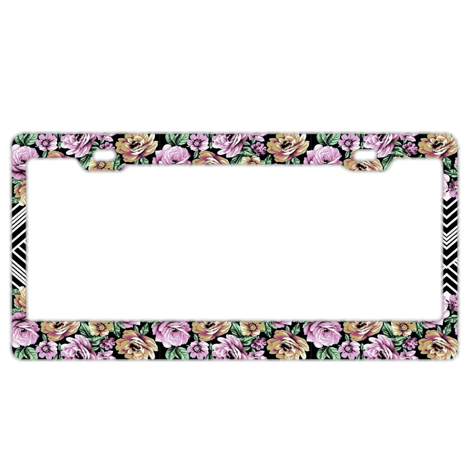 Pink And Blue Art Flowers Auto Car License Plate Frame Tag Holder 4 Hole