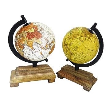 Handgemachte Dekorative Tischplatte Globus Indischen Vintage Stil Standing Beige Handwerk Satz Von 2 Stuck